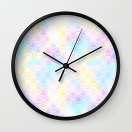 Pale Pink Mermaid Tail Abstraction. Pastel Magic Fish Scale Pattern Wall Clock