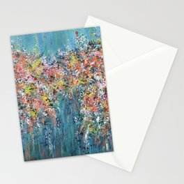 Blue Confetti, Blue Abstract Stationery Cards
