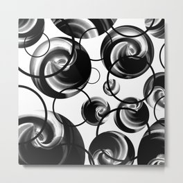 Rings And Marbles In black And White Metal Print