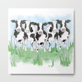 A Field of Cows Metal Print