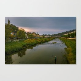 Evening at the river Canvas Print