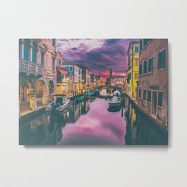 Canal and the Boats Metal Print