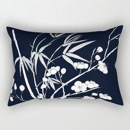 bamboo and plum flower white on black Rectangular Pillow