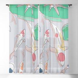 Lotus and Koi Sheer Curtain