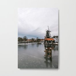 Iconic mill 'The Adrian' in Haarlem alongside a frozen Spaarne canal | Ice skating | Reflections | Architectural fine art print Metal Print