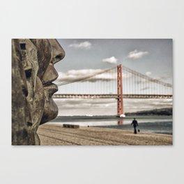 profile statue and bridge Canvas Print