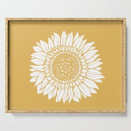 Yellow Sunflower Drawing Serving Tray