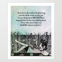 roald dahl Art Prints featuring Roald Dahl - Watch with glittering eyes... by pithyPENNY