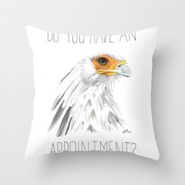 Do You Have An Appointment? (Secretary Bird) Throw Pillow