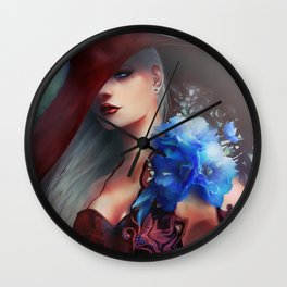 Kissed by the light - Blonde girl with hat and blue flowers Wall Clock