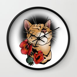 cat tattoo style Wall Clock
