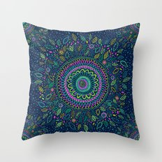 Midnight Garden Mandala Throw Pillow