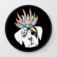 puppy Wall Clocks featuring Puppy by 13 Styx