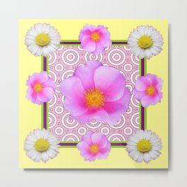 Modern Art Style Shasta Daisy Pink Roses  Yellow color Abstract art Metal Print