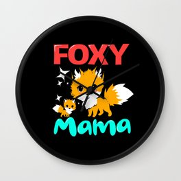 Fox Foxy Mama Mom Mother With Cute Baby Red Fox Wall Clock