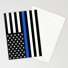 Thin Blue Line American Flag Stationery Cards