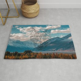 Wolf nature mountain Rug