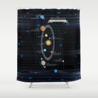 mythology Shower Curtains featuring Mythology of Astronomy by Pygmy Creative