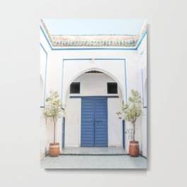The Blue Door In Marrakech Photo | White Bahia Palace Morocco Art Print | Color Travel Photography Metal Print