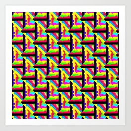 Rainbow Lattice Pattern Abstraction Art Print
