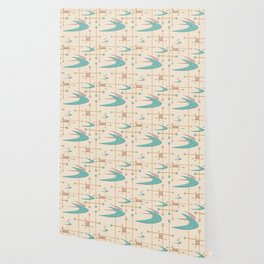 Mid Century Boomerangs in textured Blush Pink and Blue Wallpaper