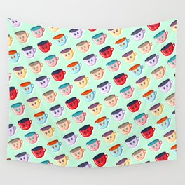 Cute smiling mugs pattern Wall Tapestry