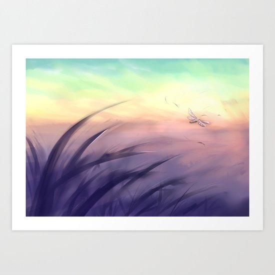 Goodmorning dragonfly Art Print