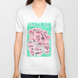 Dallas City Map Unisex V-Neck