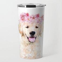 Watercolor Labrador with flowers,  happy puppy, nursery decor, Dog Painting Travel Mug