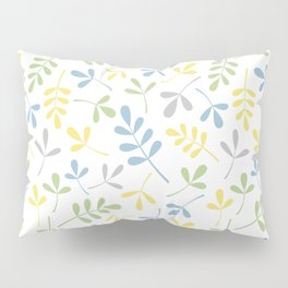 Assorted Leaf Silhouettes Blue Green Grey Yellow White Ptn Pillow Sham