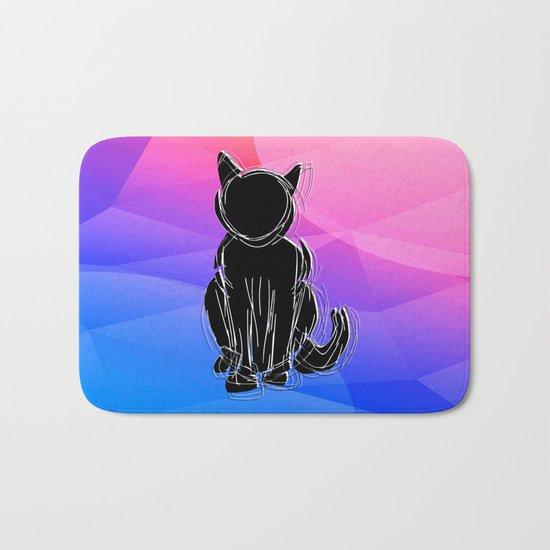 Black Cat - geometric background Bath Mat