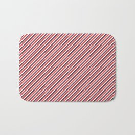 Red Inclined Stripes Bath Mat