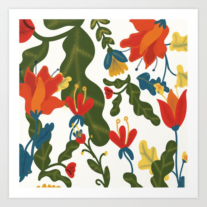 Tropical Flower Pattern Art Print
