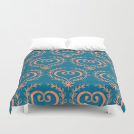 Burnout Scrolled Heart Duvet Cover