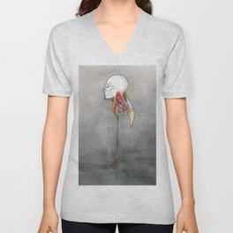 Doctor X, Skull anatomy drawing, NYC Artist Unisex V-Neck