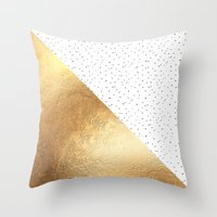 gold dots Throw Pillows featuring Gold and Polka Dots by Jenna Davis Designs