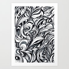 black and grey Art Print