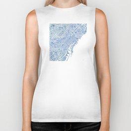 Barcelona Blueprint Watercolor City Map Biker Tank
