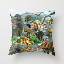 Jurassic dinosaurs drink in the river Throw Pillow