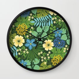Tropical Blue and Yellow Floral Wall Clock