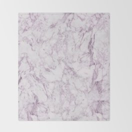 Elegant modern vintage white lilac violet marble Throw Blanket