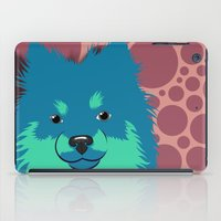 pomeranian iPad Cases featuring Olie the Pomeranian in Blue by JENNY RED