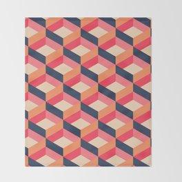 Retro Geo - Navy & Pink Throw Blanket