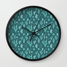 Blue cacti on teal Wall Clock