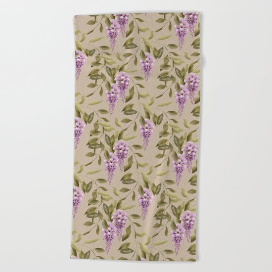 Seamless floral retro pattern background flowers ornament wallpaper textile Illustration glicinia Beach Towel