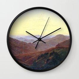 Caspar David Friedrich Before Sunrise in the Mountains Wall Clock