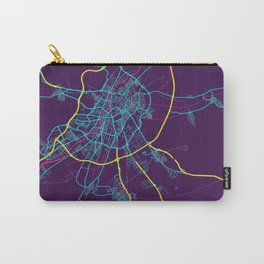 Valladolid Neon City Map, Valladolid Minimalist City Map Art Print Carry-All Pouch