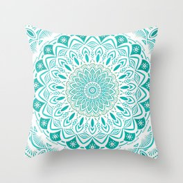 White Mandala on Blue Green Distressed Background with Detail and Textured Throw Pillow