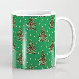 Green Folk Christmas Tree Coffee Mug