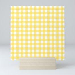 Yellow gingham pattern Mini Art Print